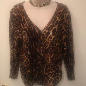 Leopard skin sweater button up